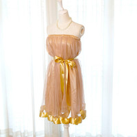 Misty Romantic Chantilly fairytale ballerina style Khaki Brown tutu tulle Gold Trim skirt /dress 2 way Sash