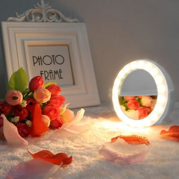 TechKara Rechargeable Dual Color Selfie Ring Light With Mirror Clip Warm & Cool White Fill Lights