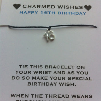 16th birthday bracelet | wish bracelet | friendship bracelet | Gift for 16th | sweet sixteen | 16th birthday card | 16th birthday gift