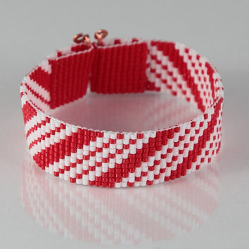 Candy Cane Christmas Bead Loom Bracelet - Artisanal Jewelry - Red & White -Holiday Jewelry - Stocking Stuffers - Gift Ideas - Beaded Jewelry
