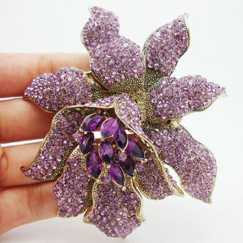 Vintage Purple Rhinestones Crystal  Orchid Flower Brooch Pin Fashion Woman Flower Brooch
