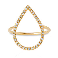 Diamond Dew Drop Ring, 14K Yellow Gold, Stone & Novelty Rings