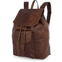 Dark brown leather look rucksack