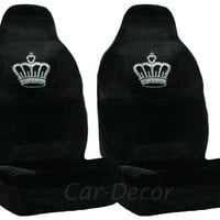 Rhinestone Princess Crown Car Seat Covers 2 Pc