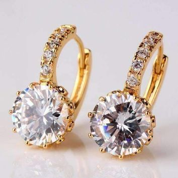 Diamond 5.5CTW CZ Solitaire Hoop Earrings In White Or Yellow Gold