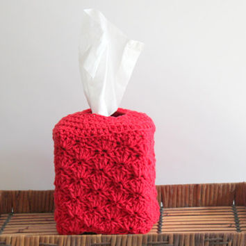 Red Crochet Shell Tissue Box Cover, Tissue Box Holder, Tissue Cozy, Crochet Cover for Tissues