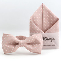 Bow Tie & Pocket Handkerchief by BartekDesign: set nude dusty pink soft pink dots pocket square wedding grooms gift proms