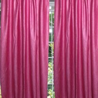 INDIAN CURTAINS PINK SOLID TAB TOP DRAPE PANEL DOOR WINDOW TREATMENT 48X108