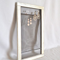 Repurposed Vintage Wooden Window Screen Organizer in White / Original Wood