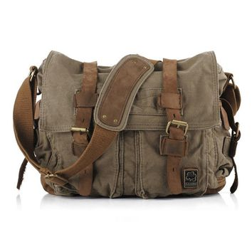 Mens Vintage Canvas Leather Satchel School Military Shoulder Bag Messenger Bag Y