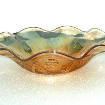Vintage Carnival Carmel Glass Bowl, wedding present, wedding card holder, carnival glass bowl timelesspeony