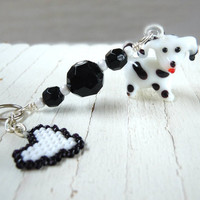 Zipper Pull / Charm with Lampwork Dalmation and Seed Bead Heart