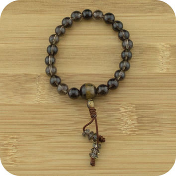 Smoky Quartz Buddhist Mala Bracelet with Tigers Eye