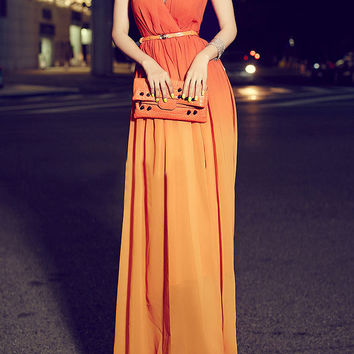 Orange Gradient Wrap V-Neckline Sleeveless Belt Chiffon Maxi Dress