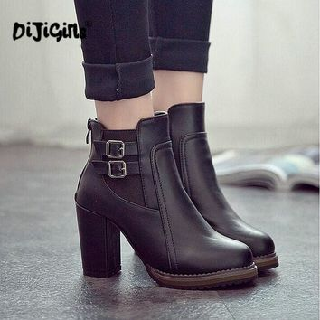 Fashion Classic Sexy Women Shoes Thick High Heel Double Buckle Knight Ankle Boots Elas