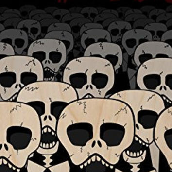'Dead Suits Skeleton March' Mass of Skulls on the Move - Plywood Wood Print Poster Wall Art