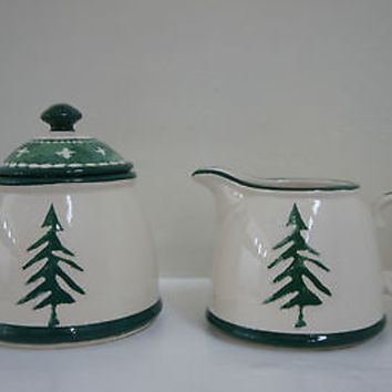 Dansk Holiday Sugar & Creamer Containers with Christmas Tree Design