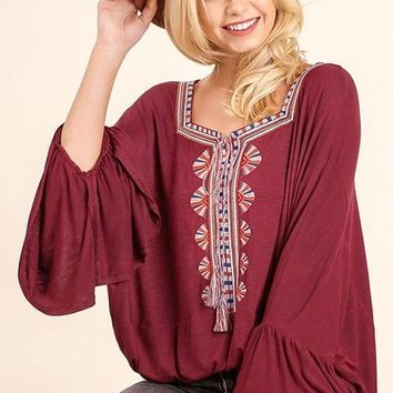 Texas Burgundy Bohemian Blouse FINAL SALE!