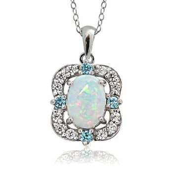 925 Silver Created Opal, White Topaz & Aqua CZ Scallop Frame Oval Necklace