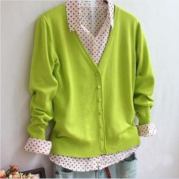 2016 new arrived women clothing candy color sweater knitted cardigan long-sleeved brand sweater women cardigan r208