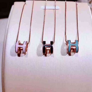 Hermes Woman Fashion Logo Plated Necklace Jewelry