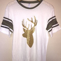 Camo Sleeve Deer T-Shirt - Deer Hunting Shirt - Ruffles with Love - RWL