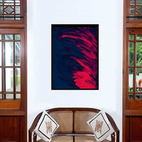 Flames Red Abstract painting Wall decor Blue red acrylic art print large small decal contemporary art special gift poster deco artwork