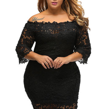 Hollow Out Floral Lace Off Shoulder Dress