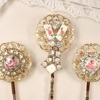 1940s Pink Rose Guilloche & Rhinestone Gold Bridal Hair Pins, Set 3 Pink Bobby Pins Bridesmaid Gift, Vintage Wedding Hairpiece Shabby Chic