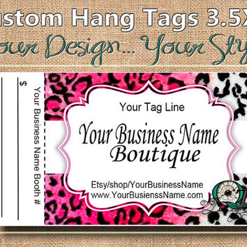 Pink Leopard  Print Custom Hang Tag Business Card Style Printing  Matte  3.5 x 2 inch cards Design services available Sales Tags Shop Tags