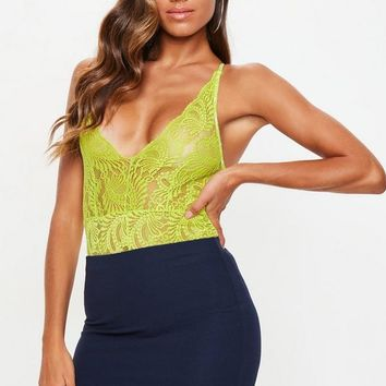 Missguided - Neon Green Lace Cami Bodysuit