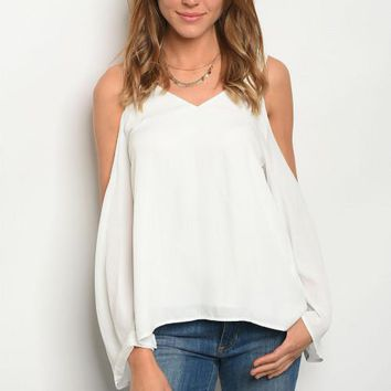 Cold Shoulder White Wrap Back Blouse