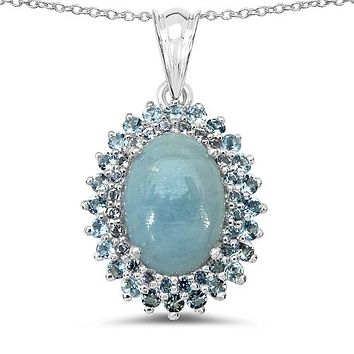An 8.5CT Oval Cut Natural Blue Aquamarine & Topaz Double Halo Pendant Necklace