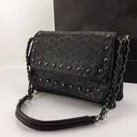 New Women Hobo Handbag Shoulder Bag Tote Purse PU Leather Punk Skull Chain B A01