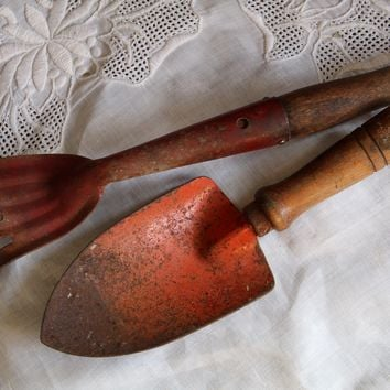 Antique Garden Tools Set 2 Rustic Red Metal Wood Handles