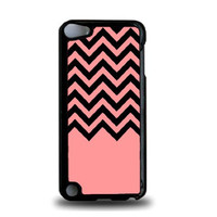 Coral Black Chevron iPod Touch 5 Case - For iPod Touch 5/5G - Designer Plastic Snap On Case