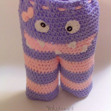 crochet monster pants, photo prop, handmade, baby shower gift, crocheted, monster bottom pants, baby pants, new baby