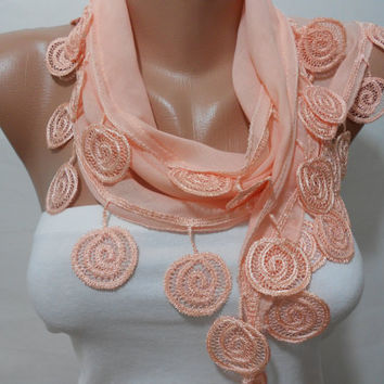 Women Salmon Scarf Shawl, Peach Cowl Scarf with Lace Edge, Women Scarves, Gift For Mother For Her For Bridesmaids, Wedding Scarf, ScarfClub