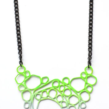 neon green and grey statement circle necklace with hammered copper wire, black chain, steel chain, powdercoated pendant handmade in quebec