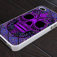 Day of The Dead - Sugar Skull Pattern - Print On Hard Cover - For iPhone 4, 4S, and iPhone 5 Case - Black, Clear, and White