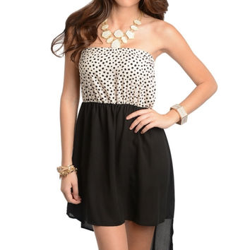 Strapless Spotted Asymmetrical Hem Dress
