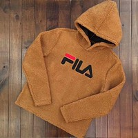 FILA Winter Warm Popular Women Leisure Lambs Wool Hooded Sweater Top Brown I
