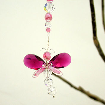 Mothers Day Gift Dragonfly Suncatcher Swarovski Crystal Suncatcher Car Charm Pink Baby Mobile Rear View Mirror Charm Cute Car Accessories