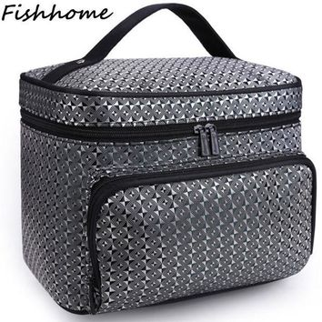 ESBONHS Diamond Lattice Big Cosmetic Bag Women Waterproof Professional Toiletry Kit Wash Necessaire Travel Organizer Make up Bags SZL62