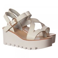 Onlineshoe Cleated Sole Summer Low Wedge Sandals - Black, White - Onlineshoe from Onlineshoe UK