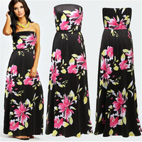 Summer Fashion Women Floral Strapless Casual Maxi Dress vest dress Beach Dress-trq