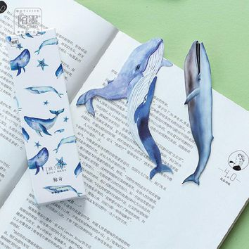 30 pcs/box MO.CARD Creative whale shape cartoon paper bookmarks children stationery office school supplie papelaria kids gifts