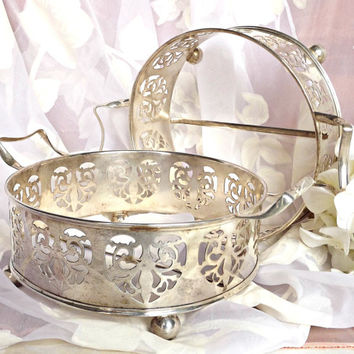 FALL SALE Silver Plated Casserole Cradle, French Farmhouse, Footed Casserole Cradle, Silver Casserole Caddy, Silver Casserole Dish Holder