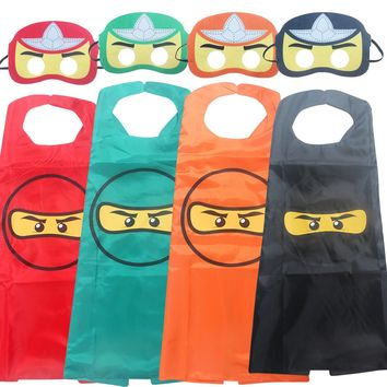 Ninja Ninjago Superhero Spiderman Batman Capes Mask Character For Kids Birthday Party Clothing Halloween cosplay Costumes 2-10Y