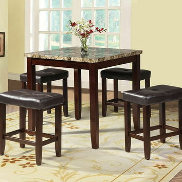 5 pc ainsley square faux marble espresso finish wood counter height dining table set